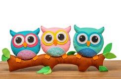 Сычи игрушки handmade на ветви : стоковое изображение rf
