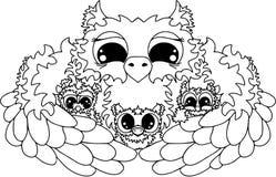 Сычи обнимают, счастливая семья Животные и изолированные персонажи из мультфильма птиц Стоковые Изображения RF