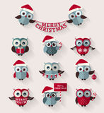 Сычи рождества Плоские значки вектор комплекта сердец шаржа приполюсный Стоковые Фотографии RF
