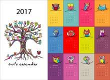 Сычи calendar дизайн 2017 иллюстрация вектора