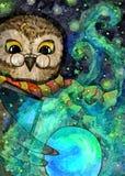 сыч велемудрый Крася влажная акварель на бумаге Наивнонатуралистическое искусство Акварель чертежа на бумаге бесплатная иллюстрация