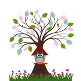 Сыч в доме на дереве Стоковое Изображение