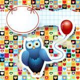 Сыч и воздушный шар, изготовленная на заказ предпосылка Стоковое фото RF