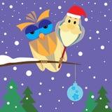 Сыч и Санта Клаус рождества Стоковое Изображение