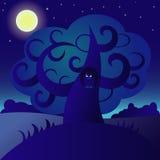 Сыч и луна Стоковые Фото