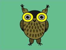Сыч орла коричневого цвета на зеленой предпосылке иллюстрация штока
