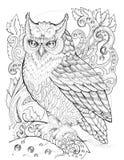 Сыч орла на ветви, картины, цветки, татуировка Стоковая Фотография RF