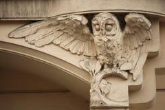Сыч Украшение здания Nouveau искусства в Праге, чехии Стоковое фото RF