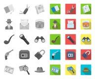 Сыщик и атрибуты mono, плоские значки в установленном собрании для дизайна Сеть запаса символа вектора детективного агентства бесплатная иллюстрация