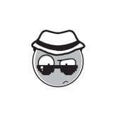 Сыщицкий значок эмоции солнечных очков носки стороны шаржа и людей шляпы Стоковое фото RF