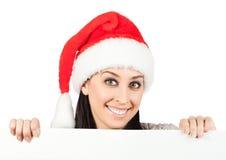 Сь девушка в шлеме Дед Мороз. изолировано Стоковая Фотография RF