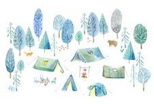 сь древесины Шатер, деревья, костер, заводы, лиса, медведь и флористическое иллюстрация штока