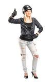 Сь женское motorcycler стоковая фотография rf