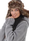 Сь женщина одетьнная для потехи зимы Стоковое Фото