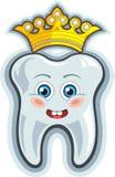 Сь зуб шаржа с кроной Стоковые Фотографии RF