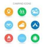 Сь иконы Символы места для лагеря Внешние знаки приключения вектор Стоковое Фото