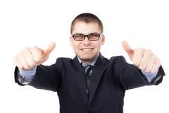 Сь молодые руки бизнесмена делают большие пальцы руки вверх Стоковые Фотографии RF