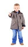 Сь ребенок с большими пальцами руки вверх по знаку, изолированному на белизне Стоковое Изображение