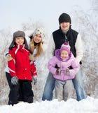 Сь семья в парке зимы Стоковое Изображение