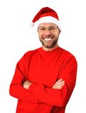 Сь человек рождества нося шлем santa Стоковые Изображения RF