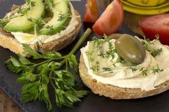Сэндвичи Hummus стоковое изображение rf