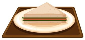 Сэндвич на сцене плиты иллюстрация штока