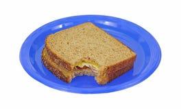 сэндвич с ветчиной сыра укуса Стоковая Фотография
