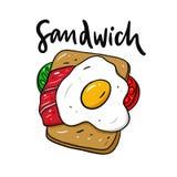 Сэндвич с яичницей Иллюстрация вектора руки вычерченная r бесплатная иллюстрация