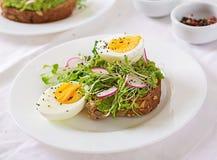 Сэндвич яйца авокадоа со всем хлебом зерна на белой деревянной предпосылке стоковые фотографии rf