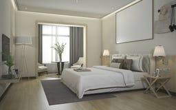 сюита спальни перевода 3d роскошная современная в гостинице Стоковое Фото