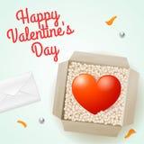 Сюрприз с письмом и картонной коробкой с сердцем внутрь, иллюстрация на день валентинки для дизайна Стоковые Фото