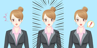 Сюрприз чувства бизнес-леди шаржа Стоковые Изображения