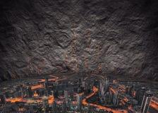 Сюрреалистическая концепция для футуристических городских зрений Стоковые Изображения