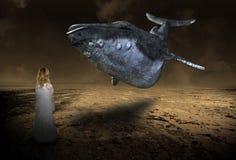 Сюрреалистическая фантазия летая кита, воображение, маленькая девочка иллюстрация штока