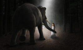 Сюрреалистический слон, девушка, друзья, влюбленность, природа стоковые изображения