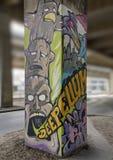 Сюрреалистская настенная роспись искусства в парке глубоком Ellum искусства, Далласе, Техасе Стоковые Изображения RF