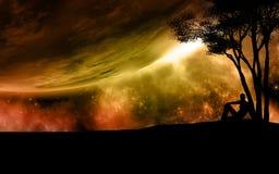 Сюрреалистическая сцена космоса Стоковое Фото