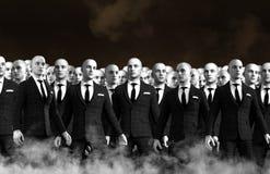 Сюрреалистическая толпа команды бизнесменов стоковое изображение