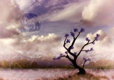 Сюрреалистическая луна и дерево плаката стоковые фото