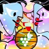Сюрреалистические люди и вино Пестрая версия Стоковое Фото