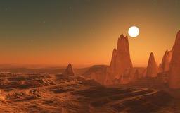 сюрреалистический ландшафт космоса 3D Стоковая Фотография RF