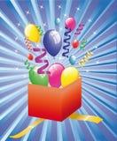 сярприз подарка воздушных шаров открытый иллюстрация вектора
