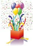 сярприз подарка воздушных шаров открытый иллюстрация штока
