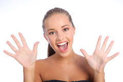 сярприз усмешки красивейшей девушки счастливый предназначенный для подростков Стоковое Изображение RF