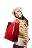 Ся молодая женская хозяйственная сумка удерживания на белизне Стоковое Изображение RF