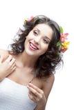 Ся молодая женщина с цветком в волосах Стоковое фото RF
