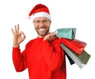 Ся человек рождества нося шлем santa Стоковая Фотография