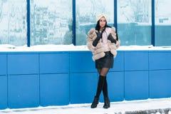 Славная девушка внешняя в зиме Стоковые Изображения RF