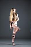 Славная девушка в бикини и пятках представляя полное тело Стоковое фото RF