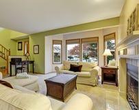 Славная живущая комната с камином Стоковое Фото